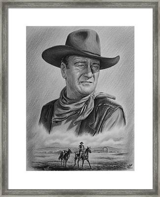 Cowboy Pencil Drawings Framed Print featuring the drawing Captured Bw Version by Andrew Read