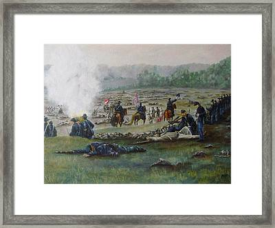Capturing The Flag-picketts Charge Framed Print by Joann Renner