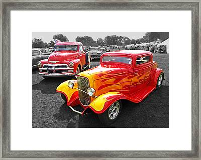 Car Show Fever - 54 Chevy With A 32 Ford Coupe Hot Rod Framed Print by Gill Billington