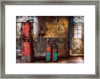 Car - Station - Gas Pumps Framed Print by Mike Savad