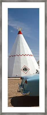 Car With A Teepee In The Background Framed Print by Panoramic Images