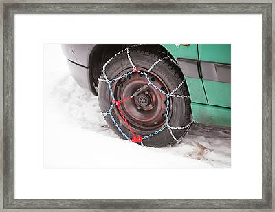 Car With Snow Chains Framed Print by Ashley Cooper