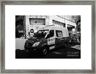 carabineros de chile national police reten movil mobile checkpoint vehicle in downtown Santiago Chile Framed Print by Joe Fox