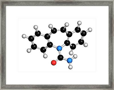 Carbamazepine Anticonvulsant Drug Framed Print by Molekuul