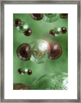 Carbon Dioxide Molecules Framed Print by Crown Copyright/health & Safety Laboratory Science Photo Library