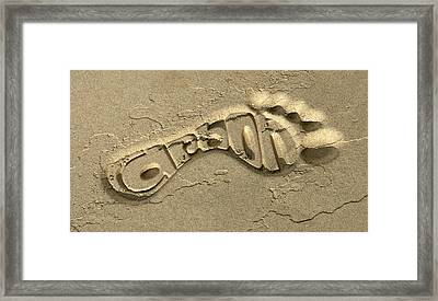 Carbon Footprint In The Sand Framed Print by Allan Swart