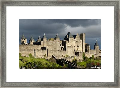 Carcassonne Stormy Skies Framed Print by Robert Lacy