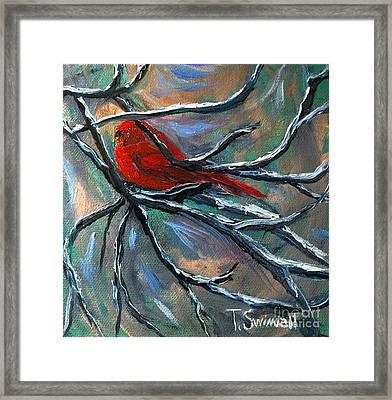Cardinal On Elk River Framed Print by Tina Swindell