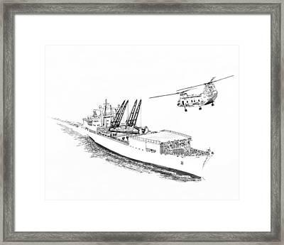 Merchant Marine Cargo Ship At Work Framed Print by Jack Pumphrey
