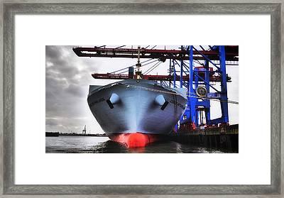 Cargo Ship - Port Of Hamburg Framed Print by Mountain Dreams