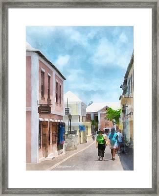 Caribbean - A Street In St. George's Bermuda Framed Print by Susan Savad