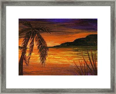 Caribbean Sunset Framed Print by Anastasiya Malakhova