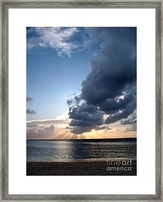 Caribbean Sunset Framed Print by Peggy Hughes