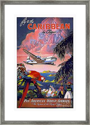 Caribbean Vintage Travel Poster Framed Print by Jon Neidert