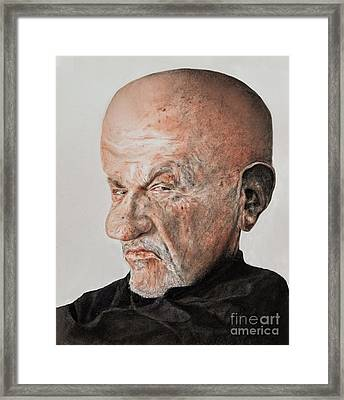 Caricature Of Actor Jonathan Banks As Mike Ehrmantraut In Breaking Bad Framed Print by Jim Fitzpatrick