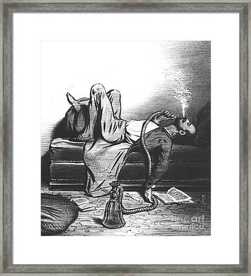 Caricature Of The Romantic Writer Searching His Inspiration In The Hashish Framed Print by French School