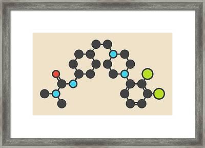 Cariprazine Antipsychotic Drug Molecule Framed Print by Molekuul