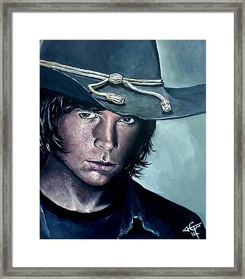 Carl Grimes Framed Print by Tom Carlton