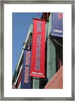 Carl Yastrzemski Banner Framed Print by Kathy Hutchins