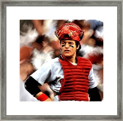 Fisk  Carlton Fisk Framed Print by Iconic Images Art Gallery David Pucciarelli
