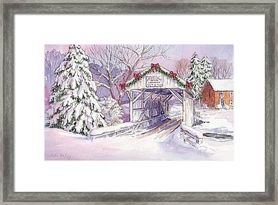 Carmichaels Covered Bridge Framed Print by Leslie Fehling