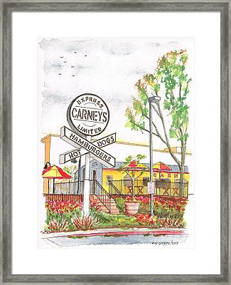 Carneys Hamburgers And Hot Dogs In Studio City - California Framed Print by Carlos G Groppa