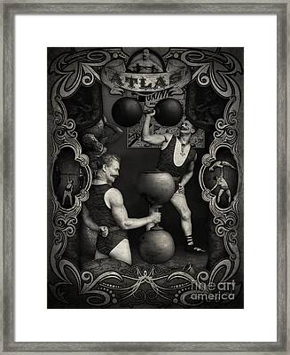 Carnival Banner - Atlas The Strong Man Framed Print by Gregory Dyer