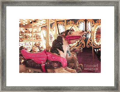 Carnival Carousel Merry Go Round Horses Night Lights - Carousel Horses Hot Pink Carnival Rides Framed Print by Kathy Fornal