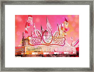 Carnival Festival Photos - Dreamy Hot Pink Orange Carnival Festival Fair Corn Dog Lemonade Stand Framed Print by Kathy Fornal