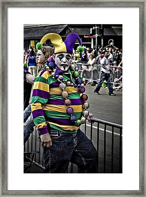Carnival Jester Framed Print by Ray Devlin