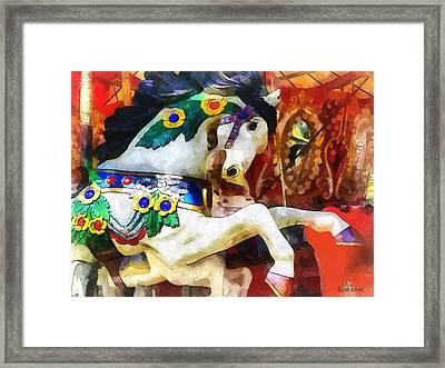 Carousel Horse Closeup Framed Print by Susan Savad