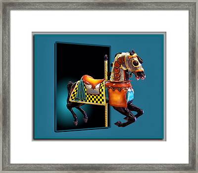 Carousel Horse Left Side Framed Print by Thomas Woolworth