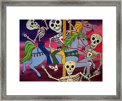 Carousel Horses And Skeletons Framed Print by Julie Ellison