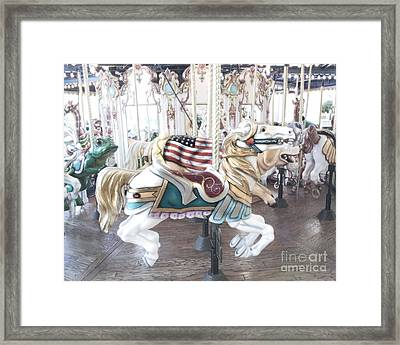 Carousel Merry Go Round Horses - Dreamy Baby Blue Carousel Horses Carnival Ride And American Flag Framed Print by Kathy Fornal