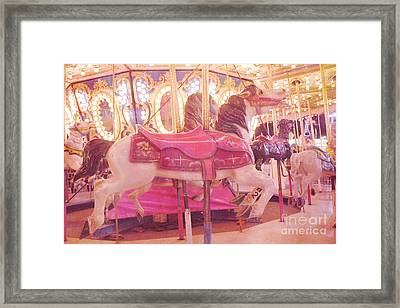 Carousel Merry Go Round Horses - Dreamy Baby Pink Carousel Horses Carnival Rides At Night  Framed Print by Kathy Fornal