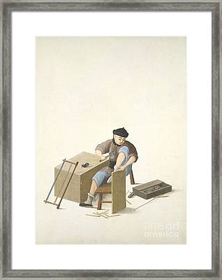Carpenter, 19th-century China Framed Print by British Library