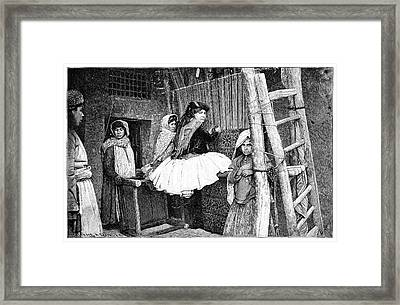 Carpet Weaving In Kurdistan Framed Print by Science Photo Library