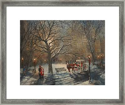 Carriage Ride In Central Park Framed Print by Tom Shropshire