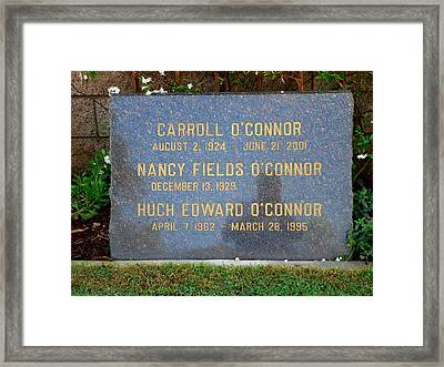 Carroll O'connor Framed Print by Jeff Lowe