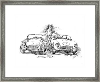 Carroll Shelby And The Cobras Framed Print by David Lloyd Glover