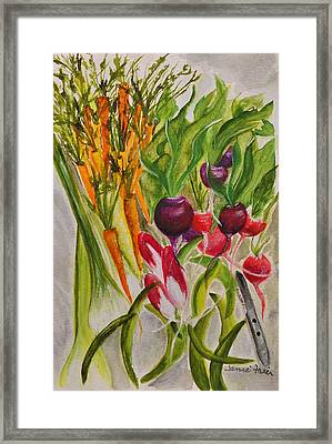 Carrots And Radishes Framed Print by Jamie Frier