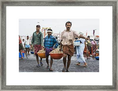 Carrying Prawns Framed Print by Sonny Marcyan