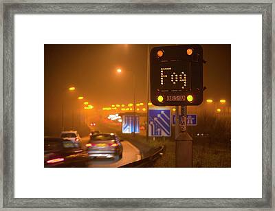 Cars Driving On The M1 Motorway Framed Print by Ashley Cooper