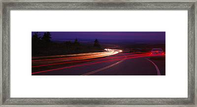Cars Moving On The Road, Mount Desert Framed Print by Panoramic Images