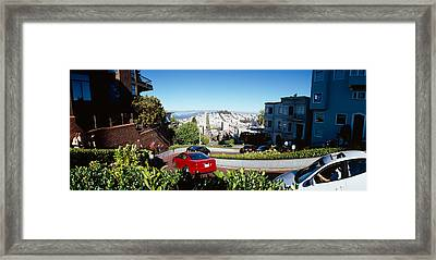 Cars On A Street, Lombard Street, San Framed Print by Panoramic Images