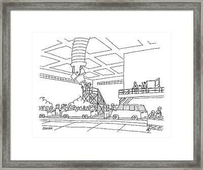 Cars On An Assembly Line Are Covered Framed Print by Jack Ziegler