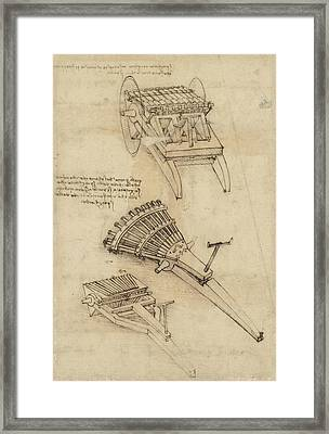 Cart And Weapons From Atlantic Codex Framed Print by Leonardo Da Vinci