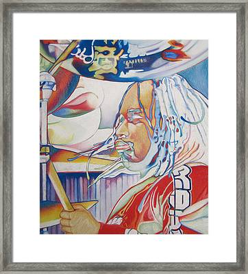 Carter Beauford Colorful Full Band Series Framed Print by Joshua Morton