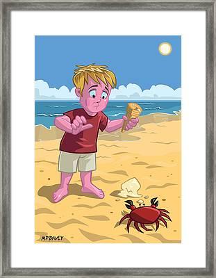 Cartoon Boy With Crab On Beach Framed Print by Martin Davey