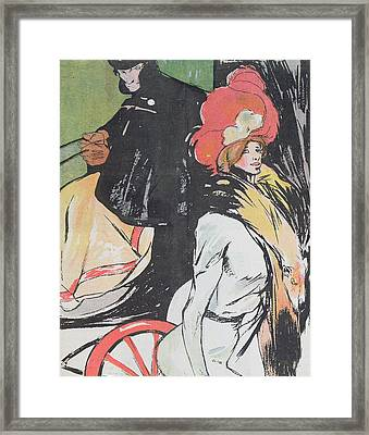 Cartoon Depicating A Cabman With A Courtesan Framed Print by Francisco Xavier Gose